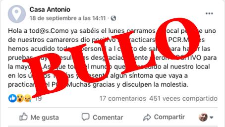 BULO | Corre por las redes que un bar de Talavera ha cerrado por COVID