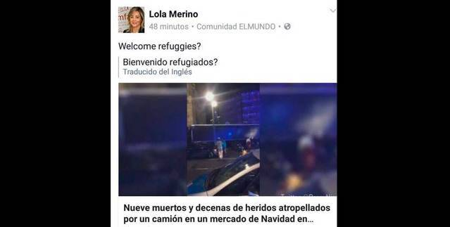 La diputada del PP en las Cortes, Lola Merino, tras el atentado de Berlín: '¿Bienvenidos refugiados?'