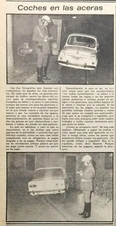 Hace 40 años ya existían las multas por aparcar en la acera