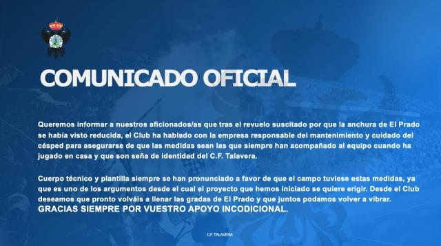 FÚTBOL   Comunicado del CF Talavera