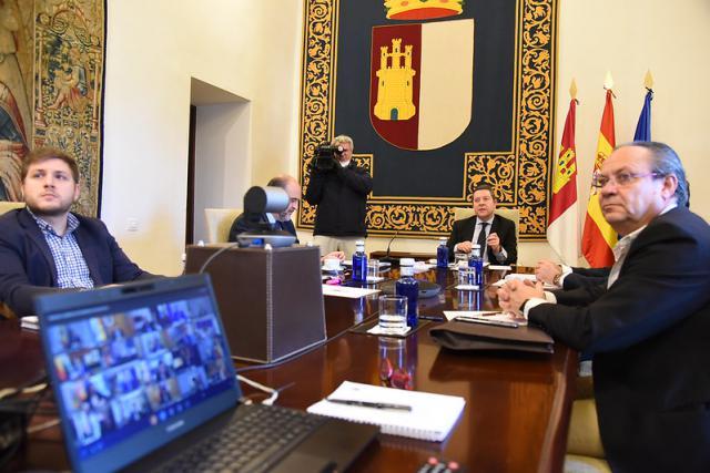 Imagen de la videoconferencia con Sánchez de esta misma mañana