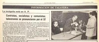HEMEROTECA   ¿Sabes qué ciudad le dio 'más síes' a la Constitución del 78, Talavera o Toledo?