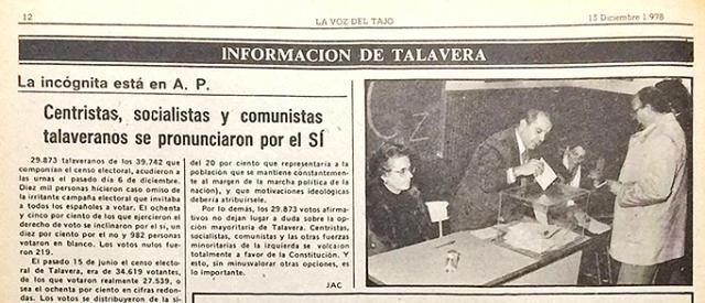 HEMEROTECA | ¿Sabes qué ciudad le dio 'más síes' a la Constitución del 78, Talavera o Toledo?