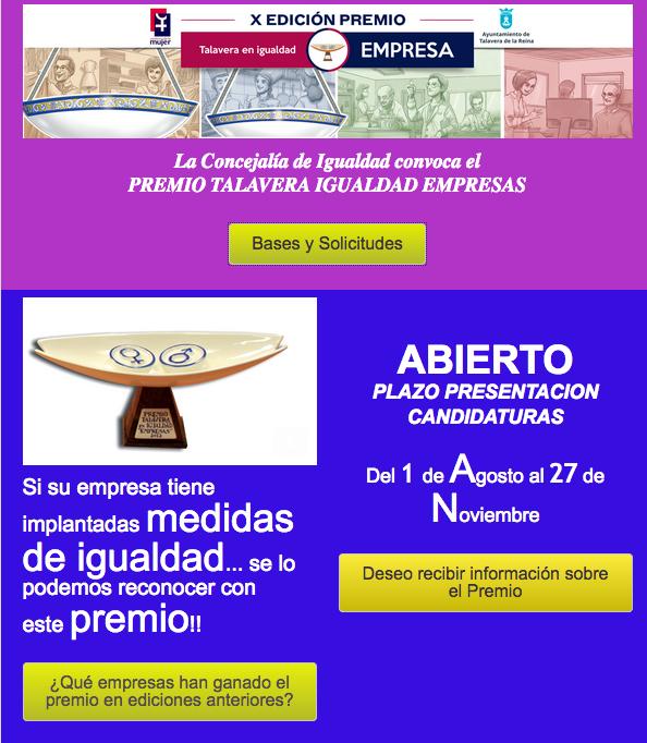 Abierto el plazo de inscripción Premio Talavera Igualdad Empresas 2017
