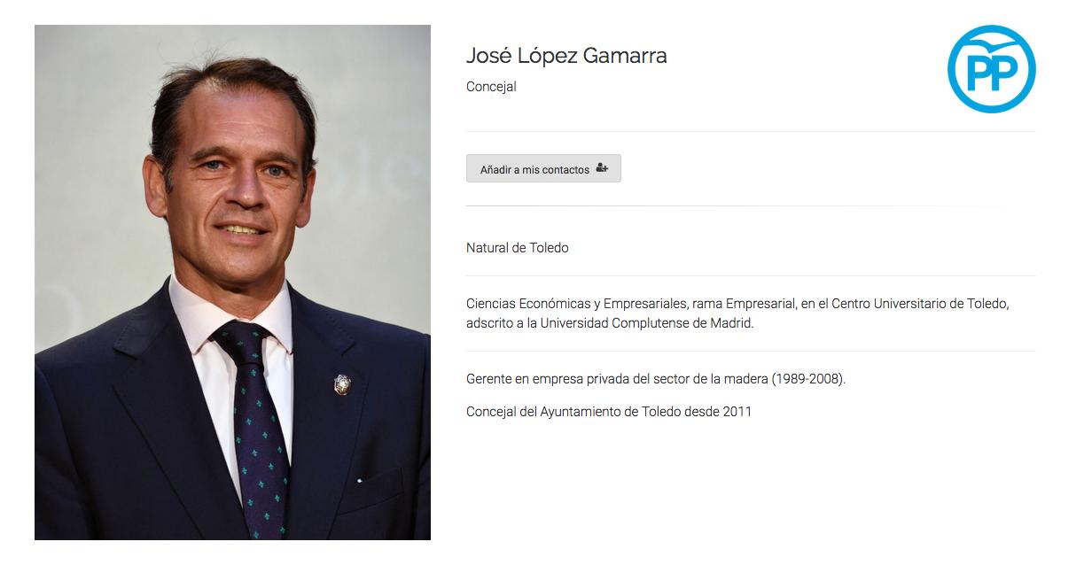 López Gamarra, concejal del PP en Ayuntamiento de Toledo, dice no haber falseado su curriculum