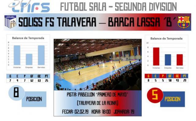 El Soliss FS Talavera recibe al Barça Lassa 'B' en busca de prolongar su imbatibilidad