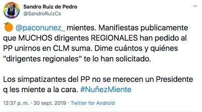 Cargos de Cs CLM arremeten contra Núñez por sus declaraciones sobre 'Castilla-La Mancha Suma'