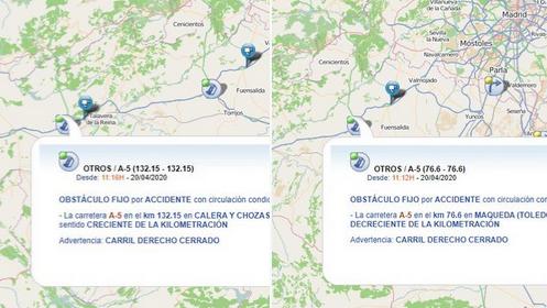 ACTUALIDAD | Dos accidentes en la A-5: uno en Calera y Chozas y otro en Maqueda