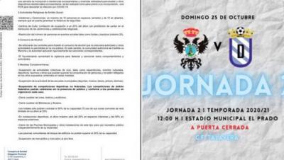 FÚTBOL | Ya es oficial: el partido del CF Talavera del domingo se disputará a puerta cerrada