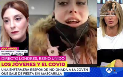 VÍDEO | Ana, enfermera talaverana en planta Covid en Londres, responde en Espejo Público a la joven negacionista