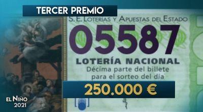 05.587   Tercer premio de la Lotería del Niño...muy repartido