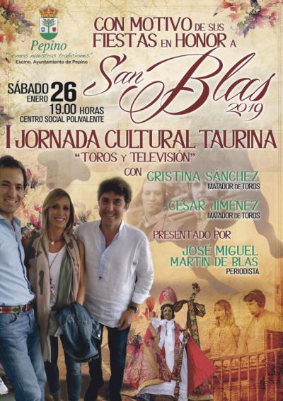 Cristina Sánchez y César Jiménez, en la I Jornada Cultural Taurina 'Toros y Televisión' de Pepino