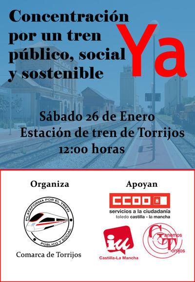 Concentración en la estación de ferrocarril de Torrijos para pedir un tren digno