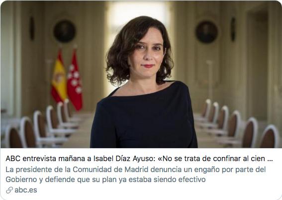 POLÉMICA | Arrecian las críticas a Isabel Díaz Ayuso por su frase sobre los contagios en ABC