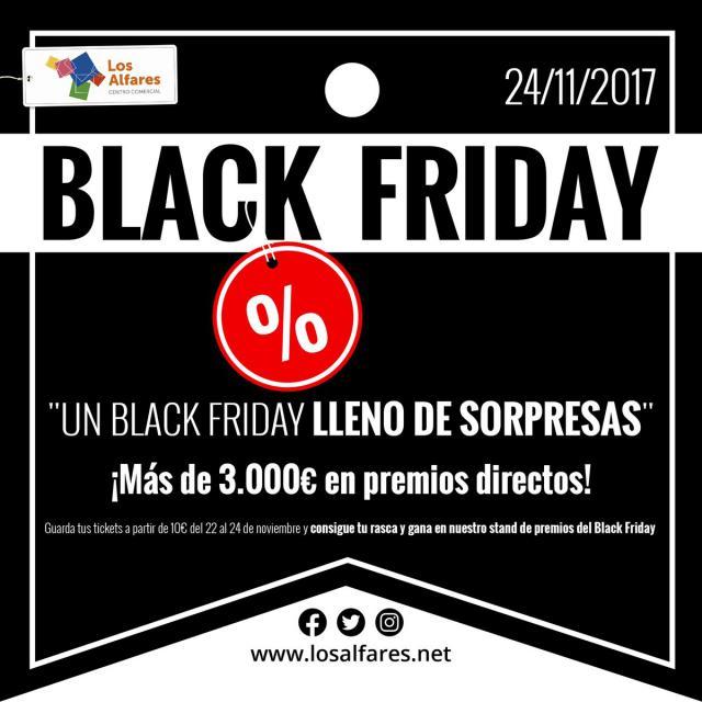 Todo preparado en Los Alfares para celebrar el Black Friday 2017 con los mejores descuentos y 3.000 euros en premios directos