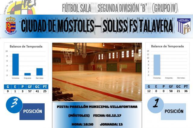El Soliss FS Talavera afronta una prueba del líder este sábado en Móstoles