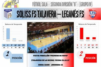 El Soliss FS Talavera despide 2017 en duelo de altura ante Leganés FS