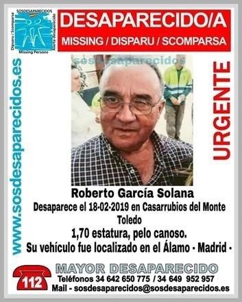 Page recuerda a Roberto García Solana, vecino desaparecido de Casarrubios del Monte, y muestra esperanza en su aparición