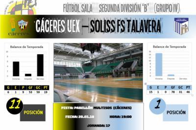 El Soliss FS Talavera abre su particular 2018 con visita al Cáceres UEX