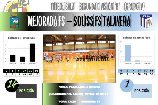 El Soliss FS Talavera visita a un Mejorada FS peligroso por las necesidades