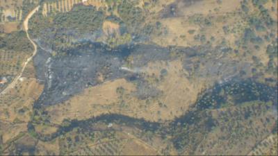 14 medios y 67 personas trabajaron en la extinción del incendio forestal de Navalcán