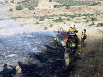 La BRIF de La Iglesuela trabaja en la extinción del fuego en El Carpio de Tajo