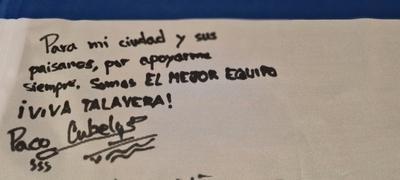 Esta es la dedicatoria de Paco Cubelos a los talaveranos