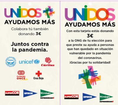 CORONAVIRUS | El Corte Inglés lanza tarjetas solidarias para colaborar con cinco ONG
