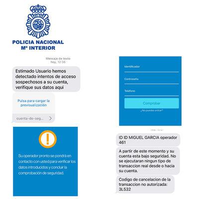 La Policía Nacional alerta de una modalidad de fraude bancario mediante SMS y llamadas