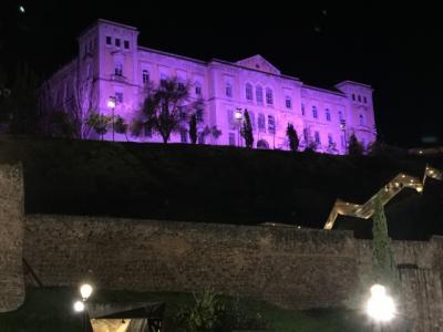 Iluminación morada en Diputación