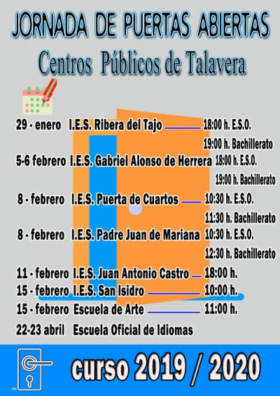 Jornadas de puertas abiertas de los institutos públicos de Talavera de la Reina