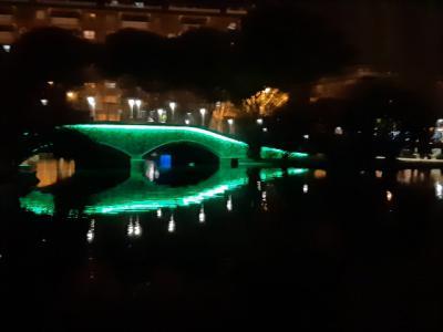 """El puente del lago de """"La Alameda"""" se ilumina de verde"""
