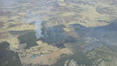 Un total de 13 medios y 60 personas continúan trabajando en el incendio de Puertollano