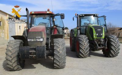 Cuatro detenidos por robar dos tractores valorados en 80.000 euros