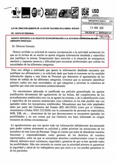 CORONAVIRUS | Los liberados sindicales del SESCAM piden que se justifique su incorporación