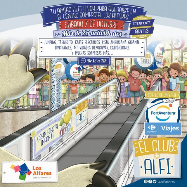 El CC Los Alfares da la bienvenida a 'Alfi', su nueva mascota, con una gran fiesta infantil