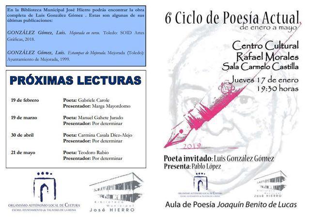 El poeta de Mejorada Luis González participa en el Ciclo de Poesía de Talavera