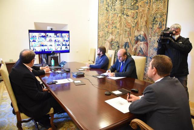 Imagen de la videoconferencia con Pedro Sánchez