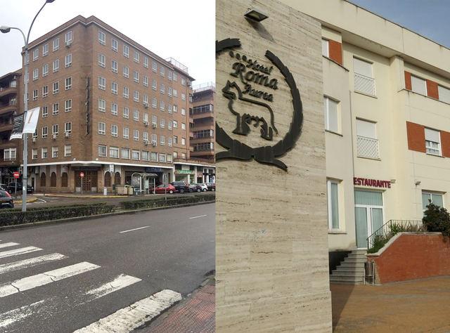 Fachadas de los hoteles Perales y Roma en Talavera, que ceden sus instalaciones