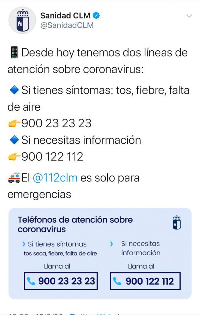 CORONAVIRUS   Si tiene síntomas llame al 900 232 323
