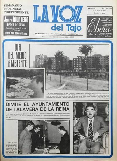 Primera página de La Voz del Tajo el 7 de junio de 1978.