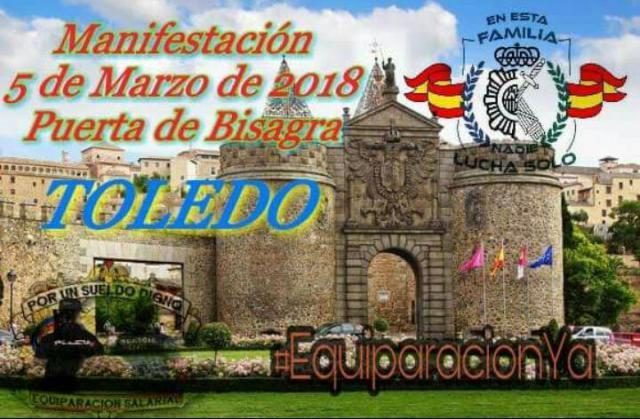 Guardias civiles y policías nacionales pedirán en Toledo equiparar salarios