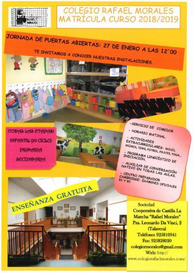 El Colegio 'Rafael Morales' invita a conocerlo por dentro en su jornada de puertas abiertas