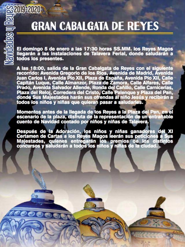 Recorrido de la Cabalgata de Reyes en Talavera