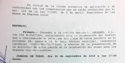 El Ayuntamiento de Talavera autoriza la corrida del sábado 24