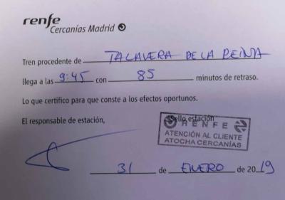 Décima avería grave del tren de Talavera en menos de un mes