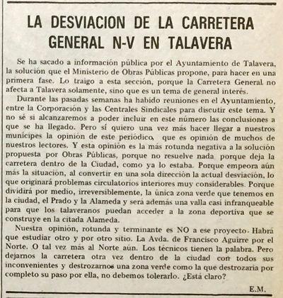 Hace 40 años, La Voz del Tajo opinaba sobre la desviación de la carretera N-V
