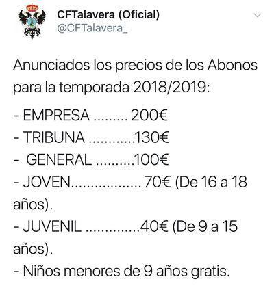 El CF Talavera anuncia los precios de los abonos de la temporada 2018/19
