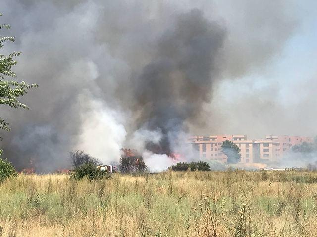 Peligroso incendio en Talavera cercano al Puente de Castilla-La Mancha