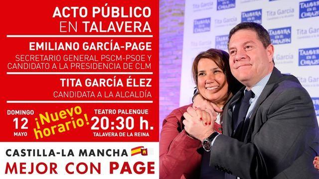 El mitin del PSOE previsto para este domingo de Tita y Page cambia de horario